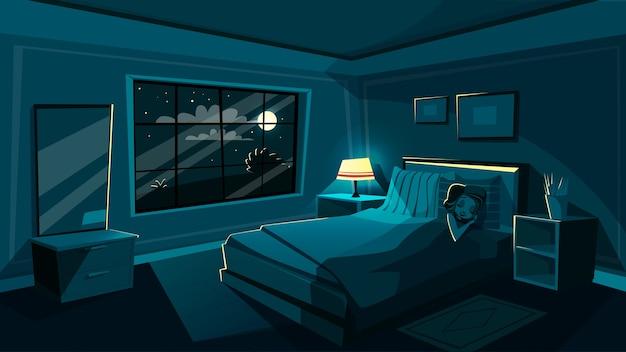 Linda mujer joven durmiendo en el dormitorio por la noche, interior de dibujos animados.
