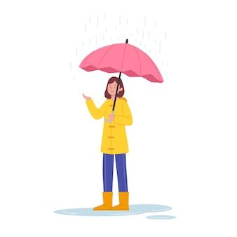 Linda mujer de pie bajo la lluvia con ilustración de paraguas