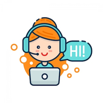 Linda mujer sonriente en call center. soporte de voz, concepto de soporte de ayuda virtual en línea