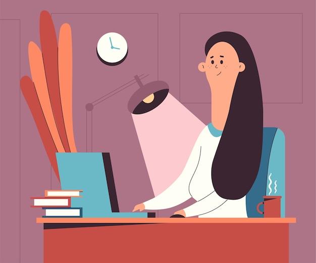 Linda mujer trabaja en la ilustración de dibujos animados de la oficina en casa.