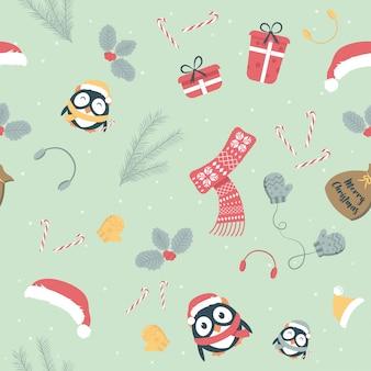Linda navidad vacaciones dibujos animados de patrones sin fisuras