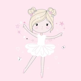 Linda niña bailando. estilo de moda, colores pastel modernos.