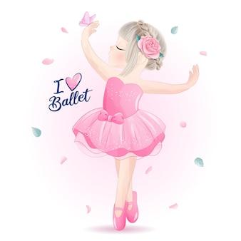 Linda niña bailarina con ilustración acuarela