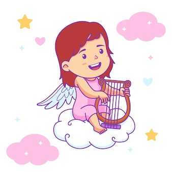 Linda niña bebé ángel tocar arpa