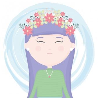 Linda niña con corona floral en el personaje de pelo.