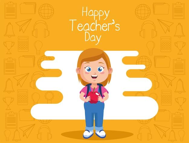 Linda niña estudiante con manzana y letras del día del maestro feliz