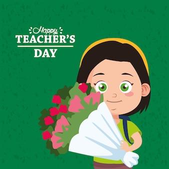 Linda niña estudiante con ramo de flores y letras del día del maestro