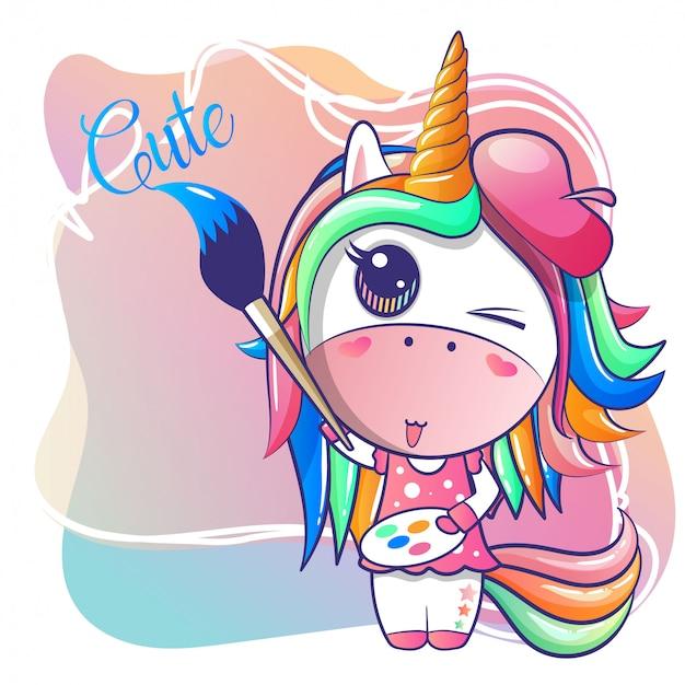 Linda niña feliz unicornio de dibujos animados