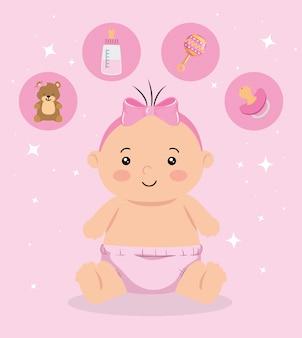 Linda niña con iconos conjunto ilustración