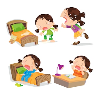 Linda niña llorando dibujos animados mucha acción.