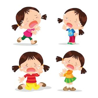 Linda niña llorando dibujos animados