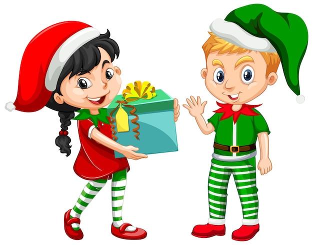 Linda niña y niño en personaje de dibujos animados de traje de navidad
