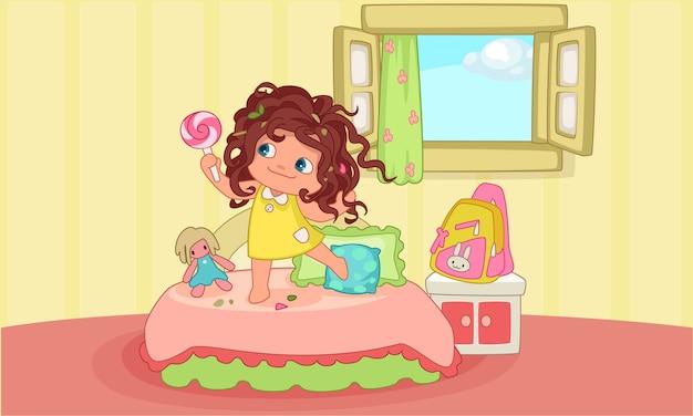Linda niña con el pelo desordenado