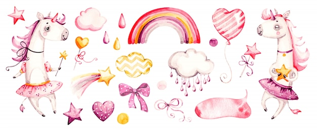 Linda niña unicornio. acuarela vivero dibujos animados animales mágicos, nubes rosadas, arco iris. conjunto adorable princesa viveros