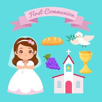 Linda, niña, en, vestido blanco, y, primera comunión clip art