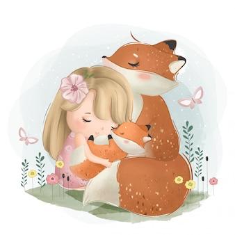 Una linda niña con los zorros