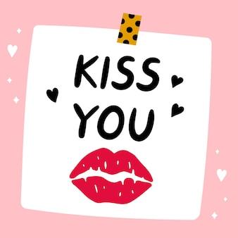 Linda nota de papel divertida con marca de beso de lápiz labial