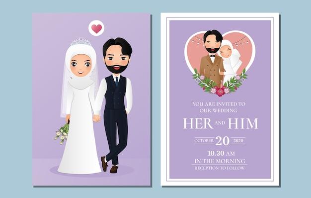 Linda novia musulmana y el novio. tarjeta de invitaciones de boda. caricatura de pareja enamorada