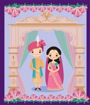 Linda novia y el novio indio en estilo de boda rajasthani para la tarjeta de invitación de boda