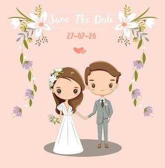 Linda novia y el novio para invitaciones de boda tarjeta