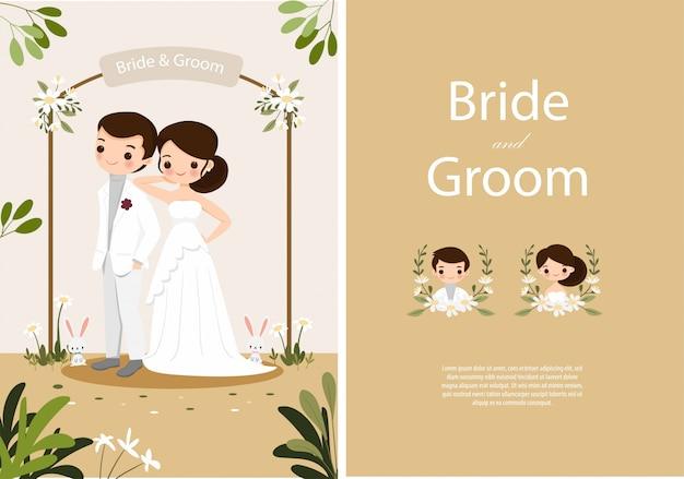 Linda novia y el novio en plantilla de tarjeta de invitaciones de boda