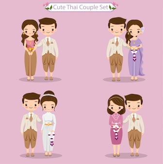 Linda novia y el novio tailandés en traje tradicional