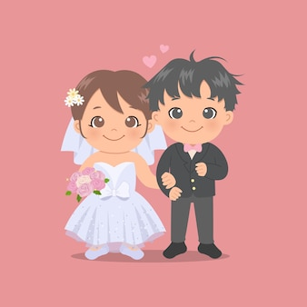 Linda novia y el novio con vestido de novia y esmoquin. día de san valentín. estilo plano.