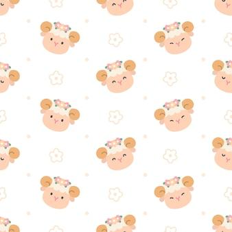 Linda oveja con corona de flores sin fisuras patrón repetitivo, papel tapiz, lindo patrón sin costuras