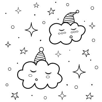 Linda página para colorear de nubes para dormir. impresión en blanco y negro con personajes divertidos. buenas noches de fondo.