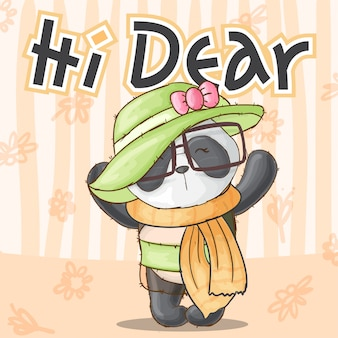Linda panda animal bonita niña-vector