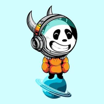 Linda panda con casco astronauta de pie en el planeta