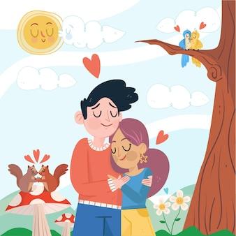 Linda pareja abrazándose ilustrada