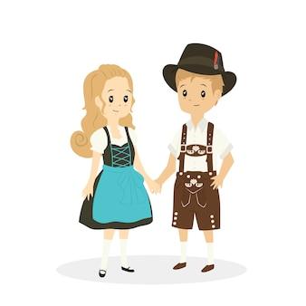 Linda pareja alemana en ropas tradicionales, dibujos animados