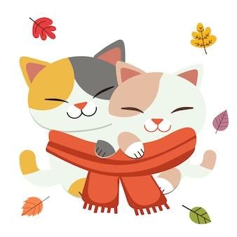 La linda pareja amor del gato usa una gran bufanda junto con las hojas en estilo vector plano