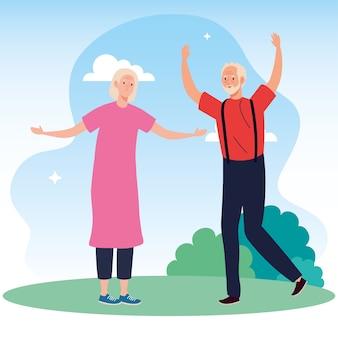 Linda pareja de ancianos celebrando en la ilustración del parque