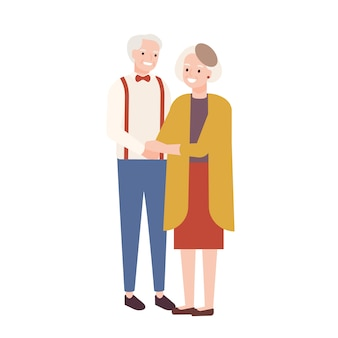 Linda pareja de ancianos enamorados. anciano y mujer parados juntos y tomados de la mano