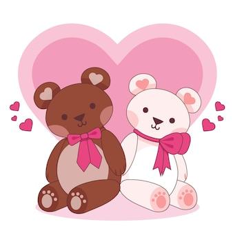 Linda pareja de animales del día de san valentín con osos