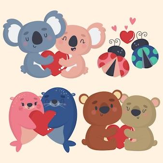 Linda pareja de animales del día de san valentín