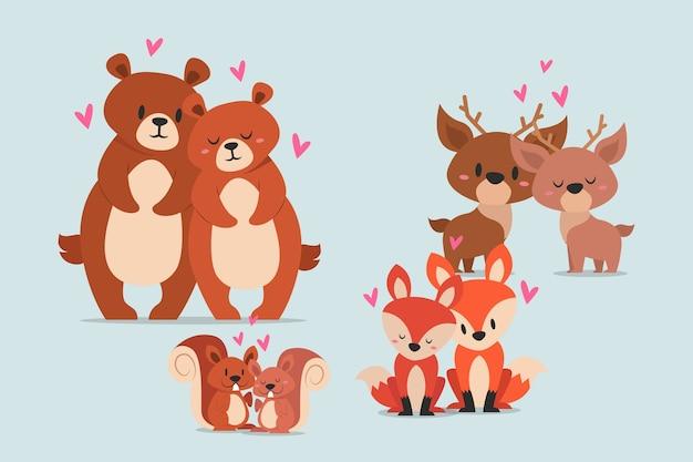 Linda pareja de animales salvajes de san valentín