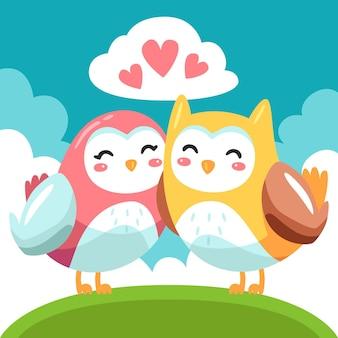 Linda pareja de animales de san valentín con búhos