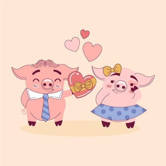 Linda pareja de animales de san valentín con cerdos