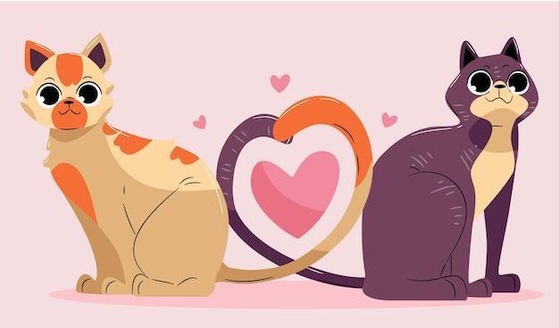 Linda pareja de animales de san valentín con gatos