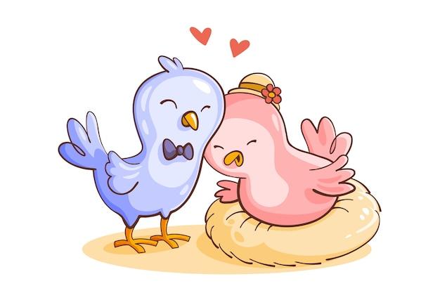 Linda pareja de animales de san valentín con pájaros