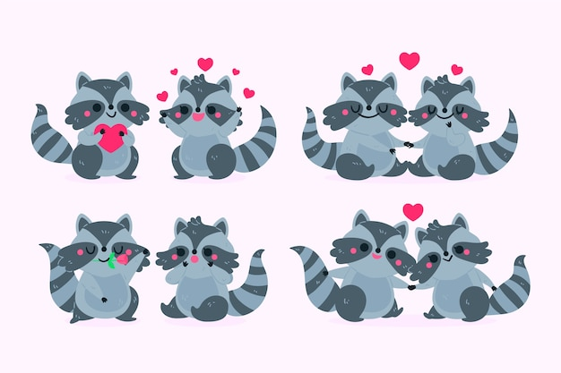 Linda pareja de animales de san valentín