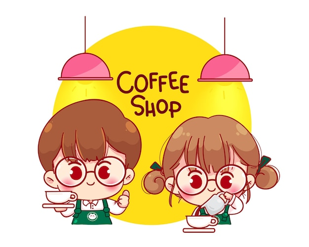 Linda pareja barista en delantal haciendo café ilustración de personaje de dibujos animados