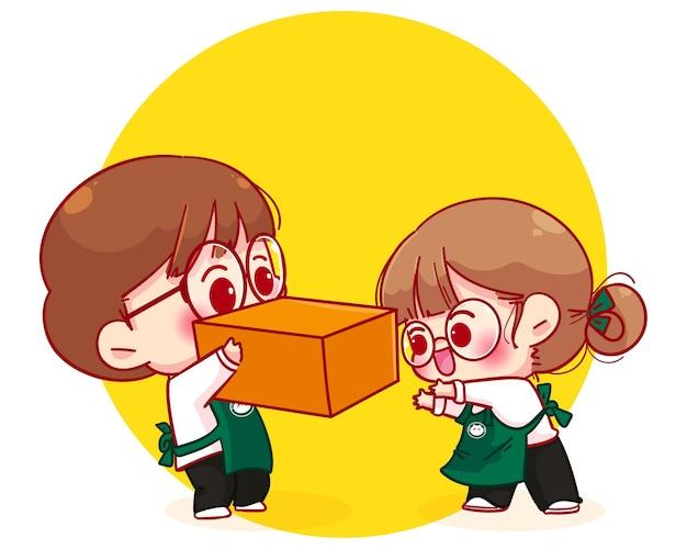 Linda pareja barista en delantal con ilustración de personaje de dibujos animados de caja
