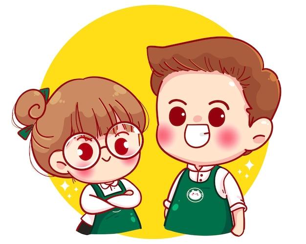 Linda pareja barista en delantal de pie con los brazos cruzados ilustración de personaje de dibujos animados