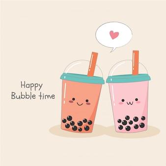 Linda pareja burbuja leche té helado en banner de envase de plástico