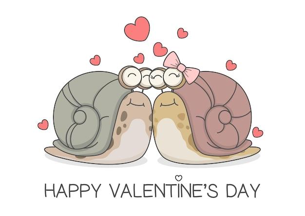 Linda pareja de caracol dia de san valentin
