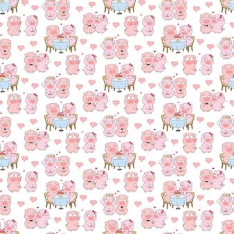 Linda pareja de cerdo en el amor de patrones sin fisuras